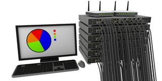 Switch rack with cables and routers vector illustration