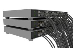 Switch rack with wires stock photos