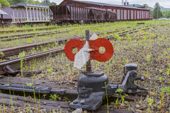 Switch in railroad yard Royalty Free Stock Image