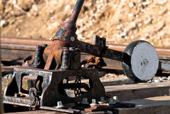Switch reversing lever. Old and rusty Royalty Free Stock Image