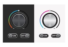 Switch round knob button. On dark and white background. vector illustration