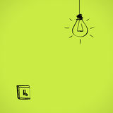 Switch. Simple light switch and lightbulb over green wall background Royalty Free Stock Image