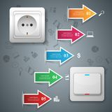 Switch, socket icon. Abstract business infographic. Switch, socket icon. On, off icon. 3d infographic design template and marketing icons Stock Image