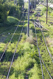 Switch train tracks in depot Royalty Free Stock Photo