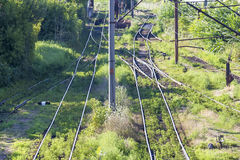 Switch train tracks in depot Stock Photography