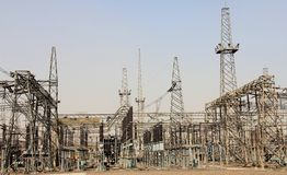 Switch yard of a thermal power plant Royalty Free Stock Photos