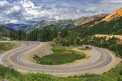 Switchback along the Million Dollar Highway in Colorado stock photos