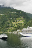 Switchback road at Geiranger fjord Stock Photos