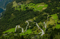 Switchback Roads in Geiranger, Norway Stock Image
