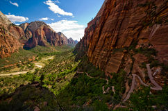 Switchback trail leading up to Angels Landing at Zion National Royalty Free Stock Photography