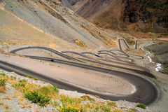 Switchbacks. Beautiful road through high Andes Chile South America Stock Photos