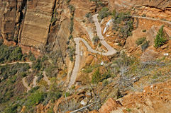 Switchbacks heading up a Canyon Trail Royalty Free Stock Photo