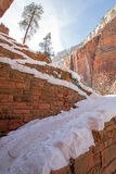 Switchbacks in snow on Angels Landing Hiking Trail during winter in Zion National Park in Utah Royalty Free Stock Photos