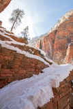Switchbacks in snow on Angels Landing Hiking Trail during winter in Zion National Park in Utah Royalty Free Stock Image