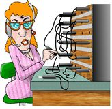 Switchboard Operator. This illustration that I created depicts a woman sitting at an old fashion telephone switchboard Royalty Free Stock Photo
