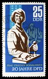 Switchboard, 20 Years Of Democratic Women's Federation Of Germany serie, circa 1967. MOSCOW, RUSSIA - SEPTEMBER 15, 2018: A stamp printed in DDR (Germany) shows stock photos