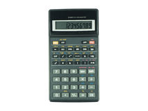 Switched on scientific calculator on white background. Switched on scientific calculator on white isolated background Royalty Free Stock Photography
