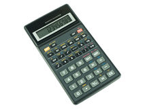 Switched on scientific calculator on white background. Switched on scientific calculator on white isolated background Royalty Free Stock Photo