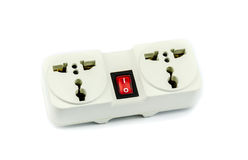 Switched universal dual adapter. Switched universal adapter on white background Stock Image