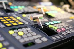 Switcher buttons in studio TV station, Audio and Video Productio Royalty Free Stock Images