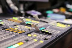 Switcher buttons in studio TV station, Audio and Video Productio. N Switcher of Television Broadcast Stock Images
