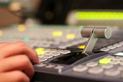 Switcher buttons in studio TV station, Audio and Video Productio Royalty Free Stock Photo