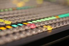 Switcher buttons in studio TV station, Audio and Video Productio. N Switcher of Television Broadcast Royalty Free Stock Photography