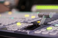 Switcher buttons in studio TV station, Audio and Video Productio. N Switcher of Television Broadcast Stock Image