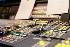 Switcher buttons in studio TV station, Audio and Video Production Switcher of Television Broadcast. royalty free stock photos