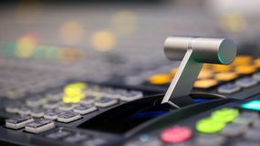 Switcher knopen in de post van studiotv, Audio en Videoproductio Royalty-vrije Stock Foto's