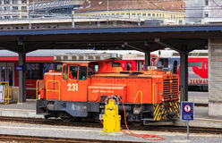 A switcher locomotive of the Rhaetian Railway at the Chur railway station in Switzerland Stock Photography
