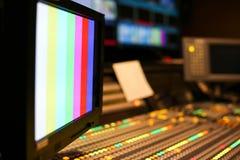 Switcher zapina w pracownianej staci telewizyjnej, audio i wideo, Productio zdjęcia stock