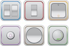 Switches. Six switches for most commonly used electronic devices around the house. They all have different color accents Stock Images