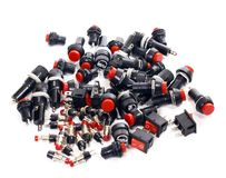 Switches, buttons, fuses, electronic components Royalty Free Stock Image