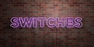 SWITCHES - fluorescent Neon tube Sign on brickwork - Front view - 3D rendered royalty free stock picture Stock Image