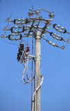 Switches of an overhead power line with  concrete pole and elect Royalty Free Stock Photos