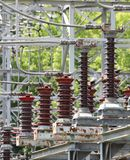 Switches of a power plant for plant. Large switches of a hydroelectric plant for plant safety of the electric energy production stock images