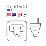 Switches and sockets set. Type A. AC power sockets realistic illustration Stock Image