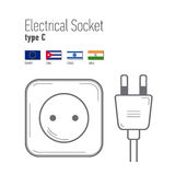 Switches and sockets set. Type A. AC power sockets realistic illustration Royalty Free Stock Photos