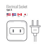 Switches and sockets set. Type A. AC power sockets realistic illustration Royalty Free Stock Images