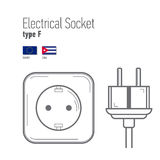 Switches and sockets set. Type A. AC power sockets realistic illustration Stock Photo