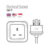 Switches and sockets set. Type A. AC power sockets realistic illustration Stock Images