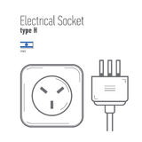 Switches and sockets set. Type A. AC power sockets realistic illustration Royalty Free Stock Photo