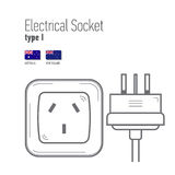 Switches and sockets set. Type A. AC power sockets realistic illustration Stock Photos