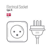 Switches and sockets set. Type A. AC power sockets realistic illustration Royalty Free Stock Photography