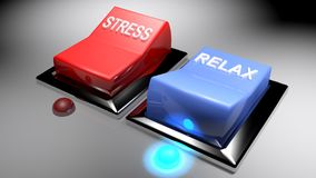 Switches for `STRESS` and `RELAX`. Relax is on - 3D rendering Stock Photo