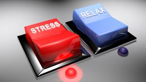 Switches for STRESS and RELAX. STRESS switch is ON Royalty Free Stock Images