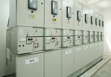 Switchgear in the electrical room Stock Photos