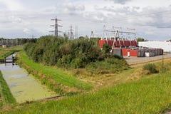 Switchgear na estação de interruptor Toldijk em Hoogeveen Foto de Stock Royalty Free