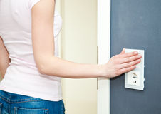 Switching off the light Royalty Free Stock Photos